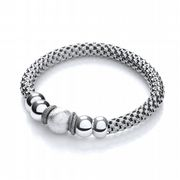 J-Jaz Rhodium plated Sterling silver Mesh Ruthenium Finish Fancy Bracelet